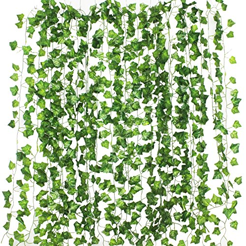 GPARK 12Pack / Each 82 inch , Artificial Ivy Garland Fake Plants , Green For Wedding Party Garden Outdoor Greenery Wall ()
