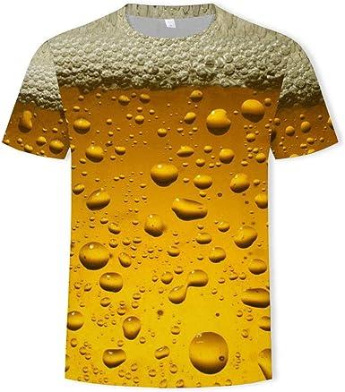 Burbujas De Cerveza 3D T-Shirt Hombre Camiseta De Verano Informal De Secado Rápido Impresa En 3D Camiseta De Manga Corta Camiseta Holgada Y Cómoda Camisa De Pareja: Amazon.es: Ropa y accesorios