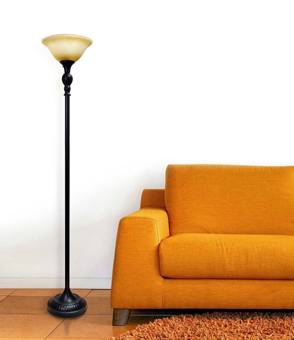 Elegant Designs LF2001-RBZ 1 Light Torchiere Floor Lamp with Marbelized Amber Glass Shade 3.9 Restoration Bronze