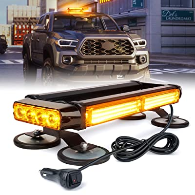 Xprite COB LED Strobe Flashing Light Bar, 21 Flash Modes Double Side Amber 14.5 Inch Emergency Hazard Warning Beacon Lights with Magnetic for Roof Top Safety Tow Vehicles Trucks Car Trailer Tractor Snowplow: Automotive