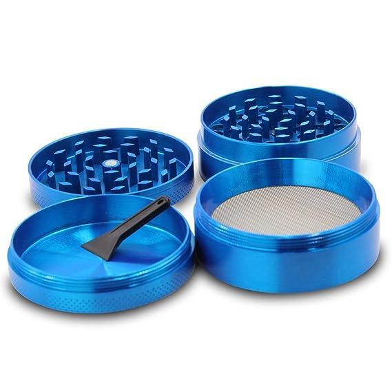 Hoplsen 4 capas Aluminio Hierbas Hierba Tabaco Amoladora Humo Rectificadoras Premium Tabaco Hierba Hierba Amoladora 40 mm (Azul): Amazon.es: Jardín