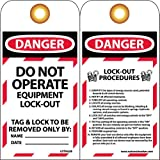 NMC LOTAG28 Lockout Tag, ''DANGER - DO NOT OPERATE,'' 6'' Height x 3'' Width, Unrippable Vinyl, Red/Black on White (Pack of 10)