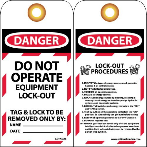 """NMC LOTAG28 Lockout Tag, """"DANGER - DO NOT OPERATE,"""" 6"""" Height x 3"""" Width, Unrippable Vinyl, Red/Black on White (Pack of 10) from NMC"""