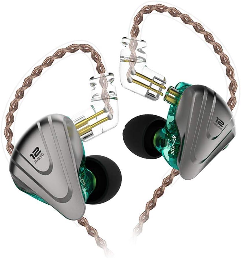 KZ ZSX Auriculares híbridos 5BA 1DD Conductor 5 equilibrados y 1 dinámico Auriculares Monitor de oído Audifonos KZ para músico Baterista(Cian no Mic)