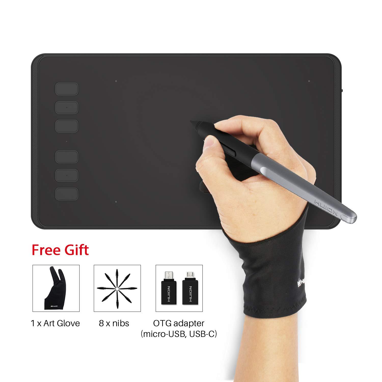 HUION INSPIROY H640P Tableta Gráfica de Dibujo Lápiz óptico Sin Batería con 8192 Niveles de Sensibilidad a la Presión 6+2 Teclas Rápidas y 1 Soporte ...