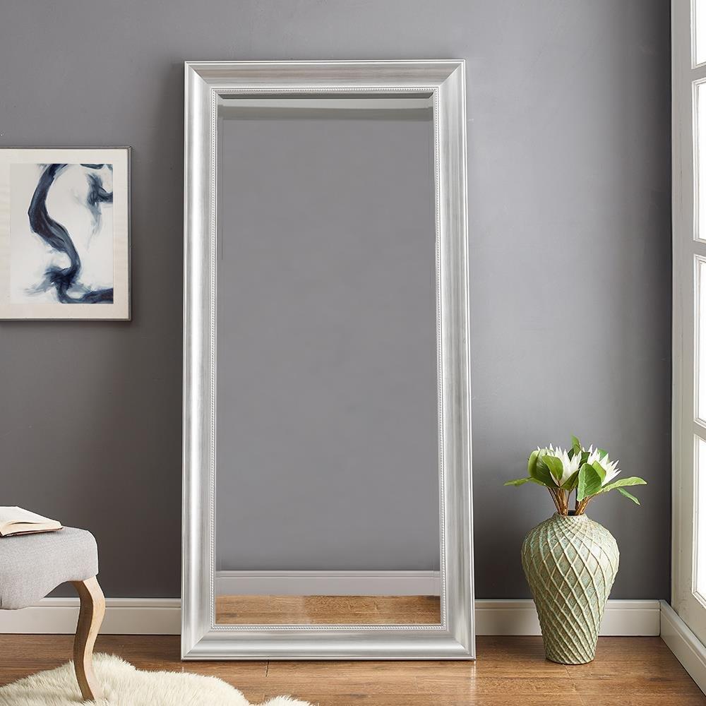 Naomi Home Beaded Framed Mirror Silver/66'' x 32''