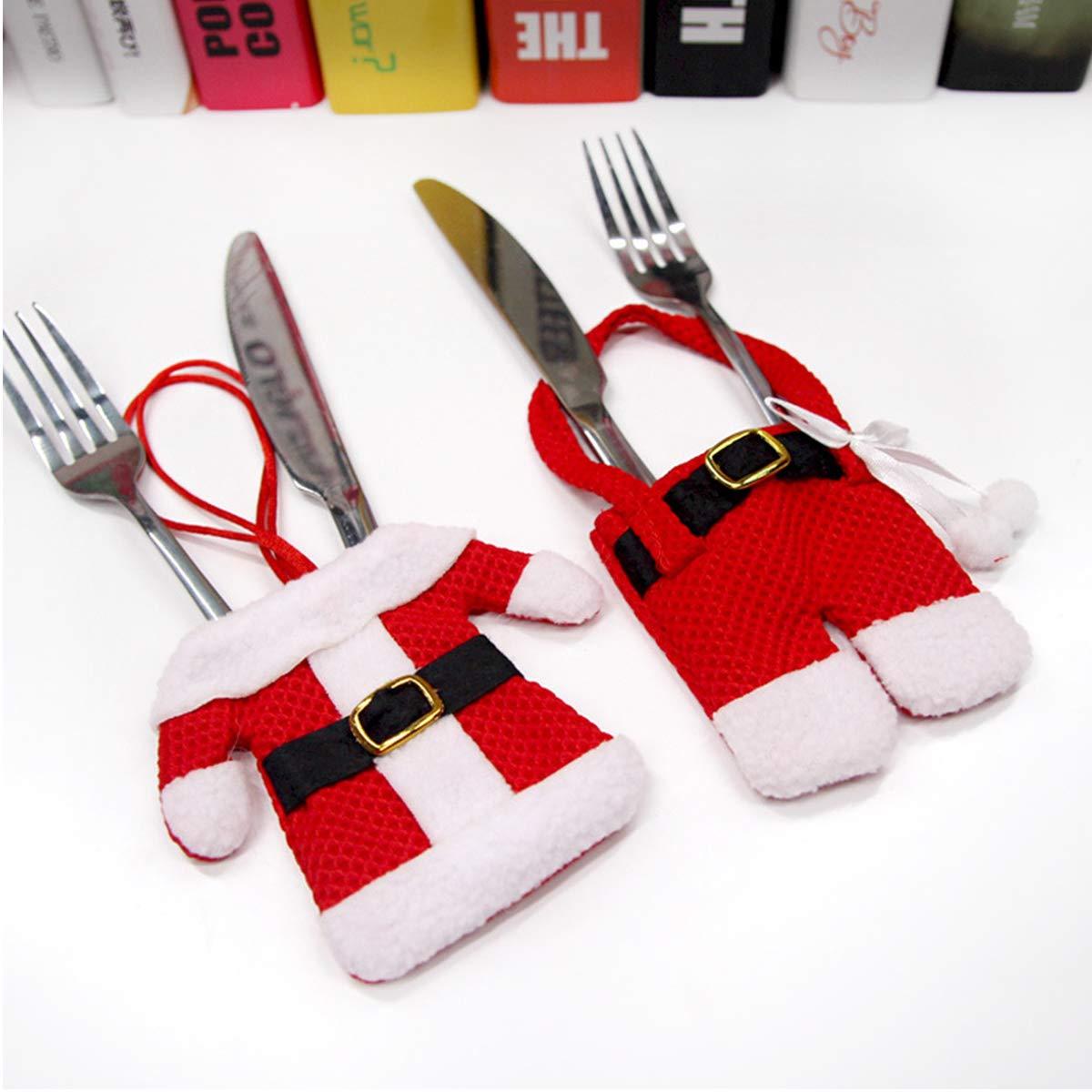 CellElection Santa Suit Christmas Silverware Holder Pockets Red, 6PCS
