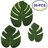 LJDJ Tropical Leaves Palm - Set of 36 - Artificial Silk Fabric Monstera Decoration Leaf 3 Different Sizes Small Medium Large - Hawaiian Luau Jungle Beach Theme Party Supplies Table Decor Accessories