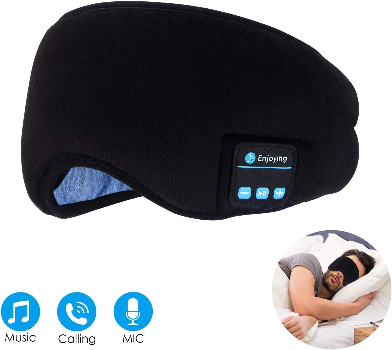 Bluetooth Sleep Eye Mask Wireless Headphones, TOPOINT Upgrade Sleeping Travel Music Eye Cover Bluetooth Headsets with Microphone Handsfree, Long Play Time, Black