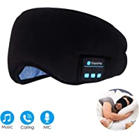 Bluetooth Sleep Eye Mask Wireless Headphones, TOPOINT Upgrade Sleeping Travel Music Eye Cover Bluetooth Headsets with Microphone Handsfree, Long Play Time, Black