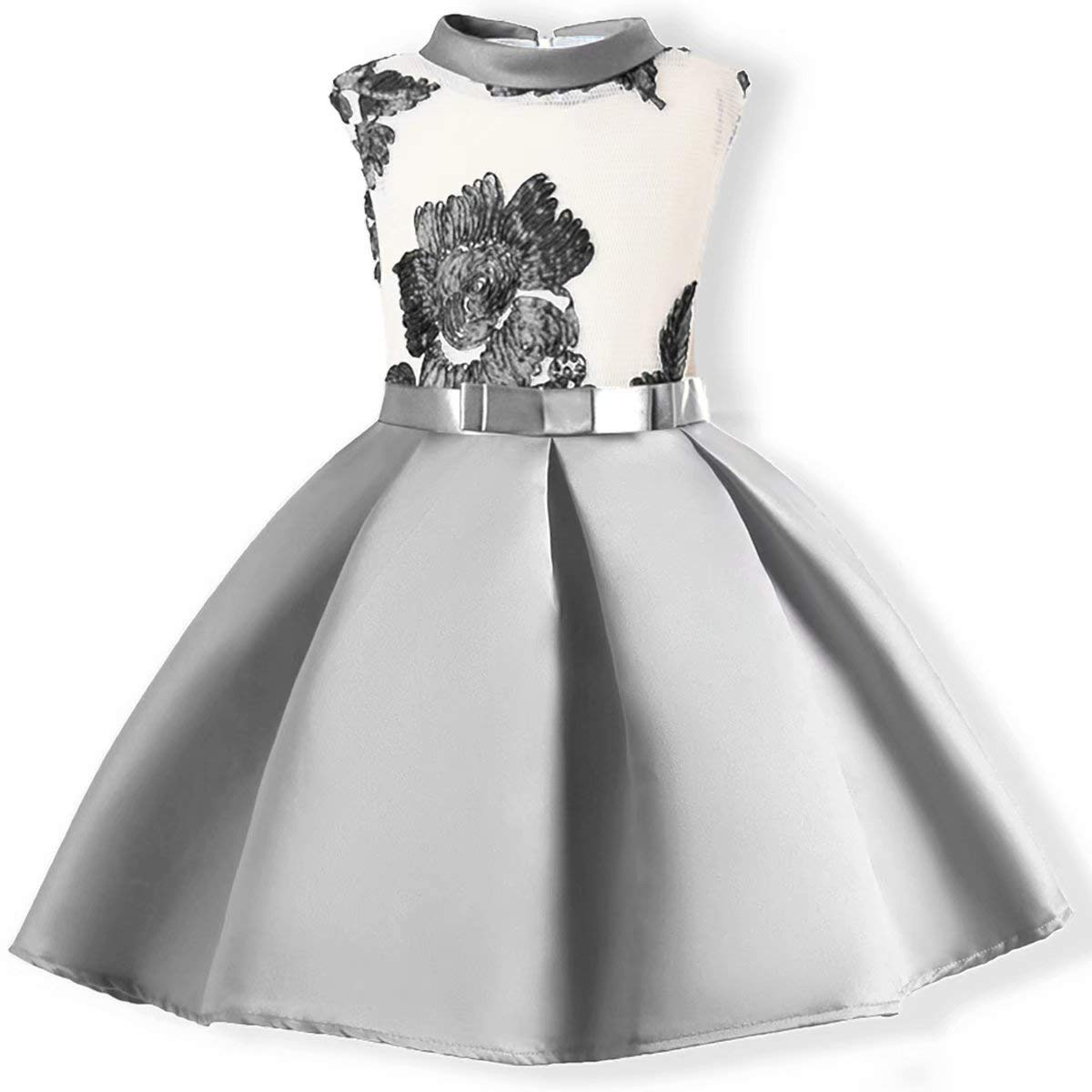 AYOMIS Flower Girl Pageant Dress Kids Party Embroidery Wedding Dresses 2-9 Years(Silver,4-5Y)