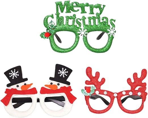 Amosfun 3 Piezas Feliz Navidad Gafas monturas muñeco de Nieve Reno ...