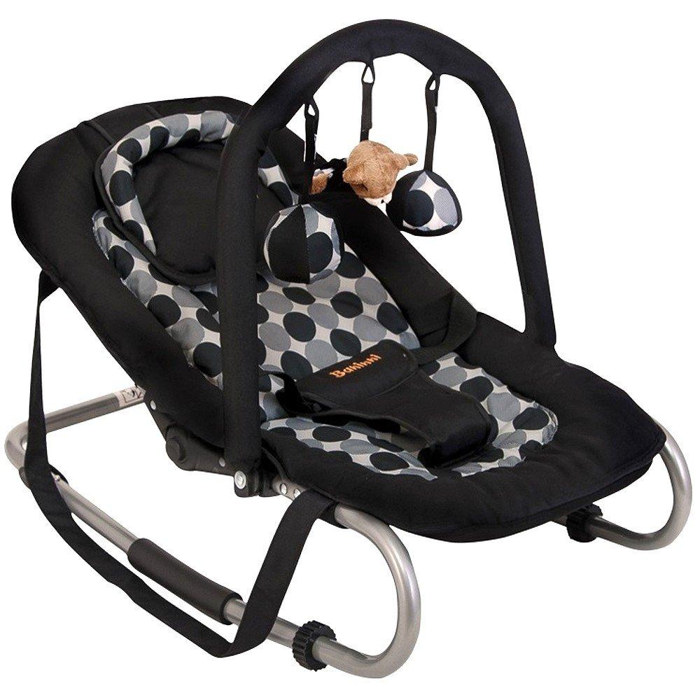 Baninni Babyschaukel Babywippe mit verstellbarer Rückenlehne, Spielebogen, Tragegurt Black Circle