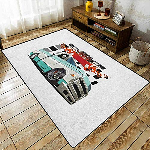 - Outdoor Patio Rug,Truck,Lowrider Pickup with Racing Flag Pattern Background Speeding on The Streets Modified,Anti-Static, Water-Repellent Rugs,4'7