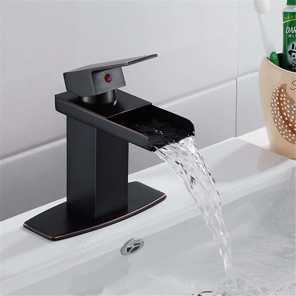 FHLYCF Basin faucet European style black all copper modern waterfall water bath bathroom single hole single hot and cold water tank faucet