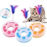 Hemore Interaktives Katzenspielzeug, einlagig, Spielzeug, Spielzeug, Katze, bewegliche Feder, Spielball mit Glöckchen, Rosa