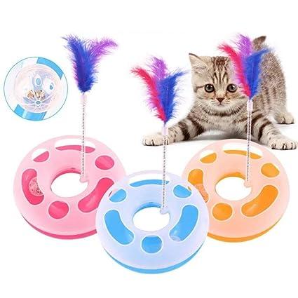 Hemore Juguetes interactivos para gatos, una sola capa, placa, juguetes giratorios para gatos