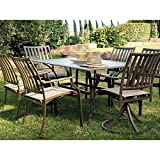 Panama Jack Outdoor Island Breeze 7-Piece Slatted Dining Group Set, Includes 4 Armchairs, 2 Swivel Chairs and 36 by 60-Inch Rectangular Aluminum Slatted Table Review