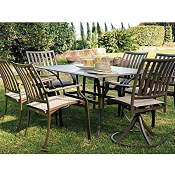 panama jack outdoor island breeze 7piece slatted dining group set includes 4 armchairs