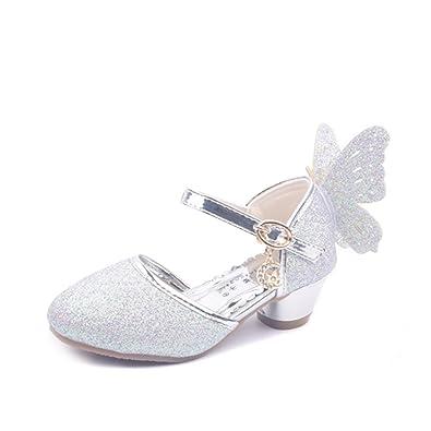 YYF Fille Belle Sandale Ballerine avec Aile de Papillon et Paillettes d9c1216dab62