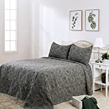 """Elegant Life Reversible All-season 100% Cotton Night Blossom Floral Pattern Embroidery Bed Quilt Bedspread, Queen Size, 90""""x95"""", Grey"""