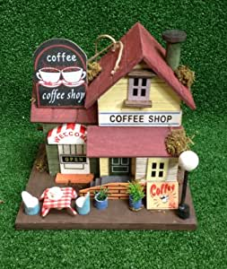 Large Wooden Hanging Garden Bird House - Traditional Coffee Shop