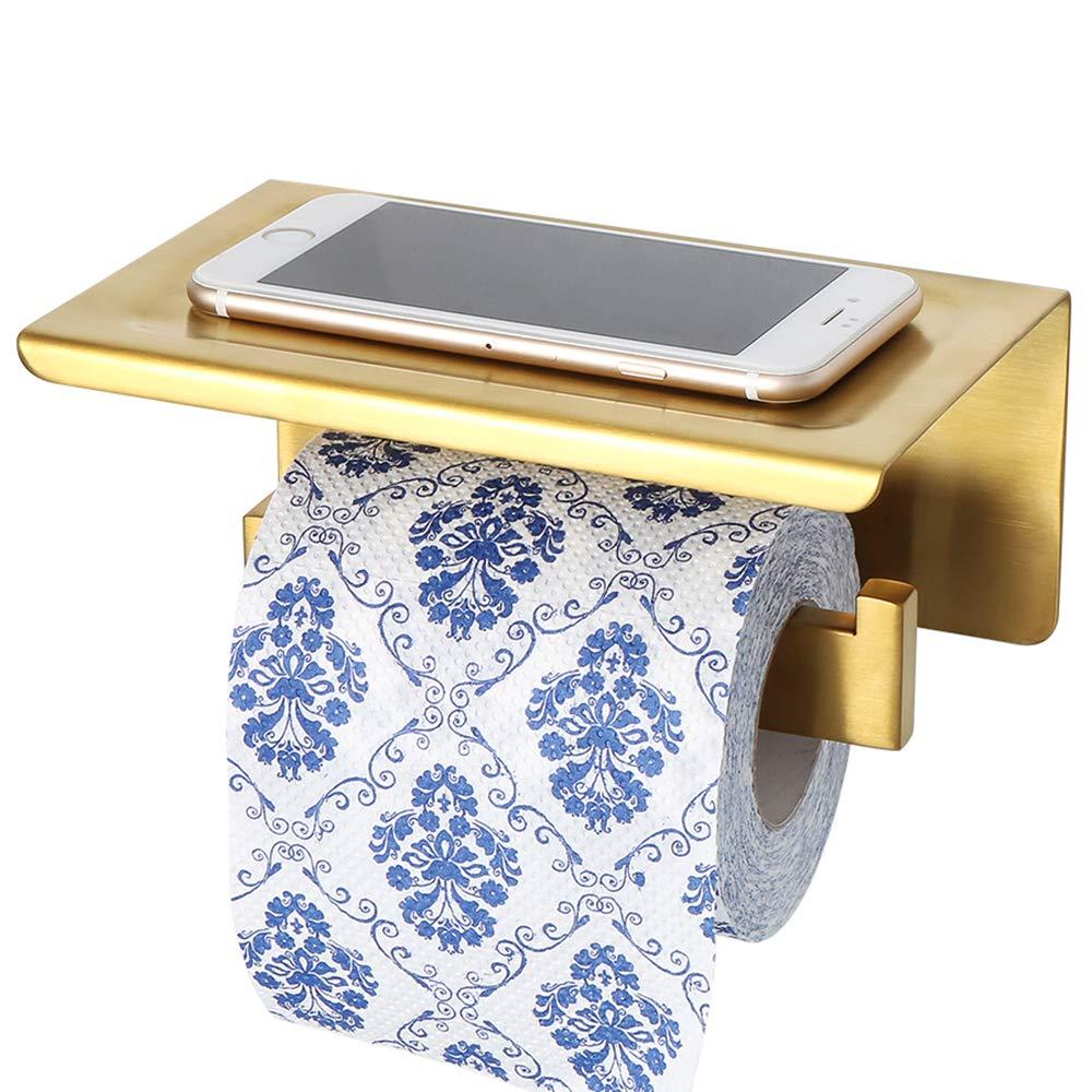 Sayayo EGYT5000-G Support pour papier toilette avec étagère en option 3 m auto-adhésif ou à vis, en acier inoxydable SUS-304 Finition dorée
