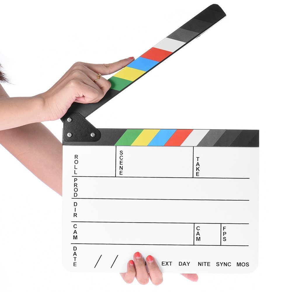 Professional Studio Camera Photography Video Acrylic Clapboard Dry Erase Director Film Movie Clapper Board Slate with Color Sticks(9.6x11.7' /25x30cm), White Coolbuy112
