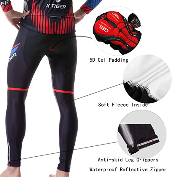 X-TIGER Homme Maillot de Cyclisme Manches Longues Vestes de Cyclisme Coussin Rembourr/és en Gel 5d Pantalons V/élo VTT V/êtements Respirant Automne Hiver Thermique Polaire Maillot//V/êtements Coupe-Vent