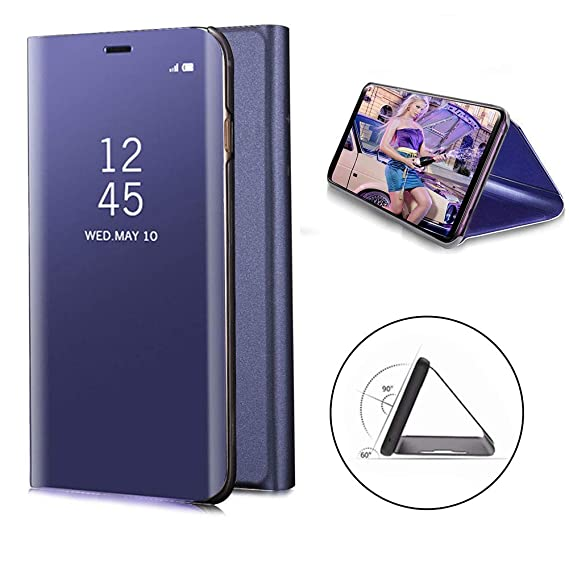 size 40 ba956 257e0 Galaxy Note 9 Mirror Case Smart Sleep Covers Full Protective Phone Cases  Flip Leather Cover for Samsung Galaxy Note9 Smart Phone (Purple)