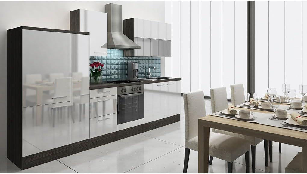 respekta Premium – Bloque de Cocina Cocina Americana 310 cm Oak-Grey Blanco Brillante: Amazon.es: Hogar