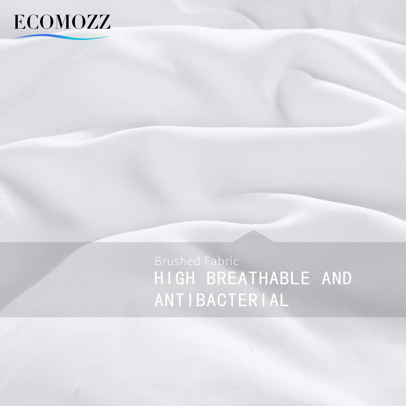 EcoMozz King Comforter with Corner Tabs - All Season Down Alternative Comforter - Soft Warm Quilted Duvet Insert - Hypoallergenic Fluffy Hotel Collection - White by EcoMozz (Image #6)