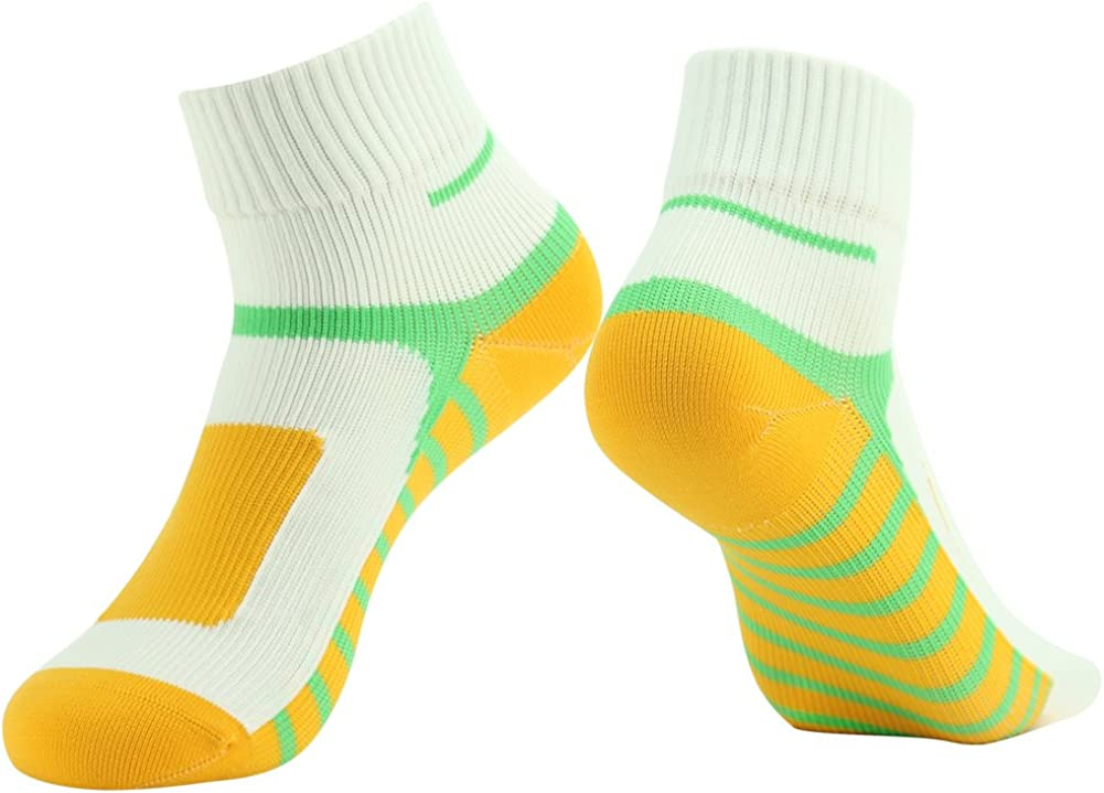 Ankle Socks, [SGS Certified]RANDY SUN Unisex Waterproof & Highly Breathable Socks White & Yellow & Green Large 1-Pair