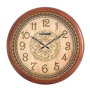 Reloj Salón de estilo chino Reloj de pared silencioso Esfera de madera Estuche de madera maciza Espejo de cristal Movimiento de barrido 1 sección 5 Batería de carbono (no incluida) 20 pulgadas 1