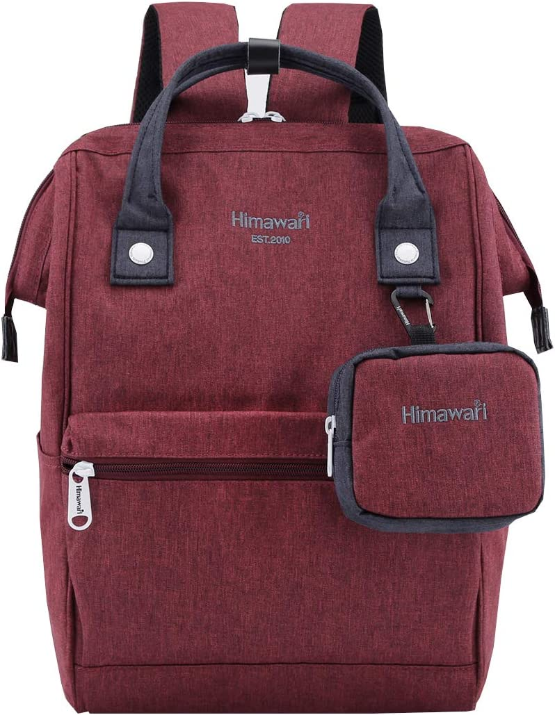 Himawari Travel Laptop Backpack for Men Women, Huge Capacity 15.6'' Computer Notebook Bag for School College Students(Burgundy)