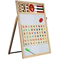 Emob High Quality Wooden Multi-use 2 in 1 Magnetic Drawing & Writing Board with Abacus & Clock Feature