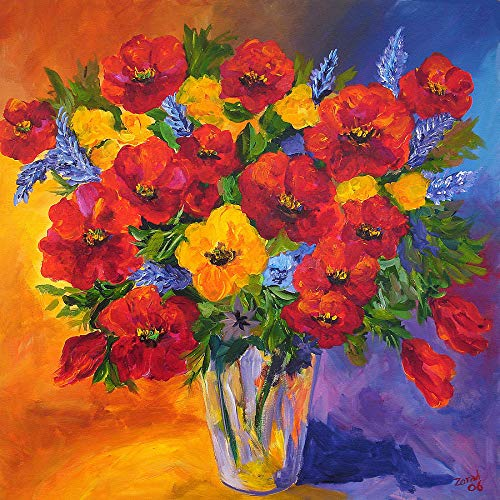 Vase Resin Oil Stone (WiHome 5D Diamond Painting Kits for Adults Full Drill Large Red and Yellow Flower Vases Embroidery Rhinestone Painting)