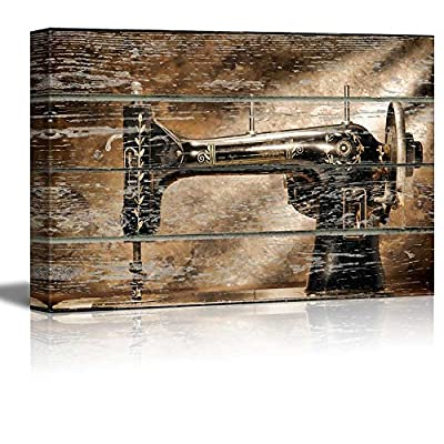Elegant Piece of Art, Professional Creation, Vintage Sewing Machine on Vintage Wood Textured Background Rustic Country Style
