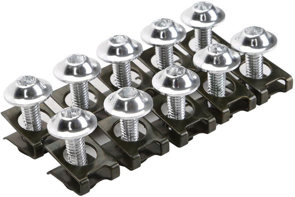 SDENSHI 10x M6 CNC Mat/ériel De Moto Boulons De Car/énage Vis Fixation Clips Kit De Montage Argent/é