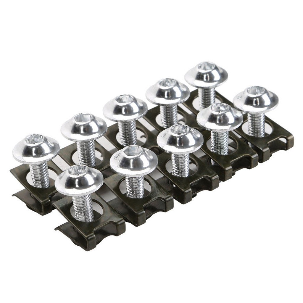 Sharplace 10pz Motore Clip Bulloni CNC M6 Carenatura Kit Fissaggio Lava Viti Dadi Argento