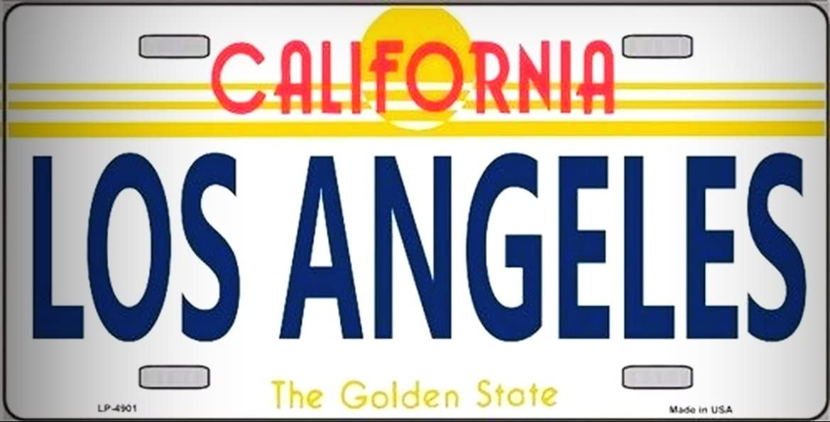 Los Angeles California Novelty State Background Vanity Metal License Platefor Home/Man Cave Decor by PrettyMerchant