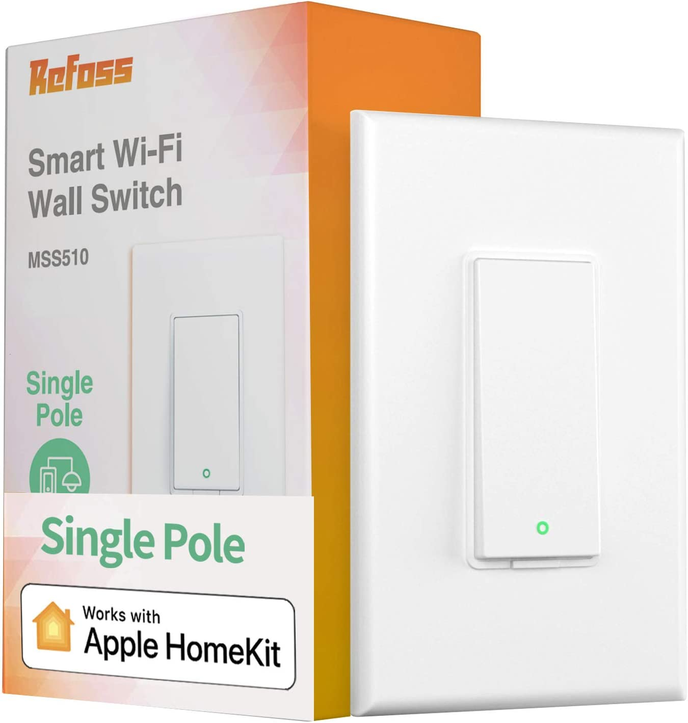 Smart Light Switch Apple Homekit - Refoss Single Pole Smart Switch Wi-Fi Wall Switch Compatible with Siri, Alexa & Google Assistant, Remote Control, Voice Control, Schedule, Neutral Wire Required