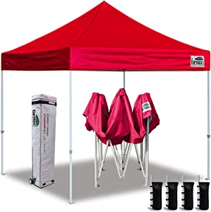 Eurmax 10'x10' Ez Pop Up Canopy Tent Commercial Instant Canopies with Heavy Duty Roller Bag,Bonus 4 Sand Weights Bags (Red)