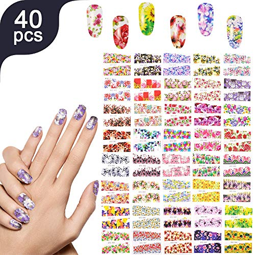 Lady Up 40 Sheets Nail Art Stickers Decals For Women Girls Halloween Christmas Festival -