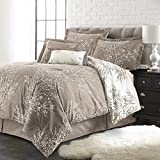 Spirit Linen Hotel 5Th Ave Plush Reversible Foliage Comforter Set, Queen, Taupe/White