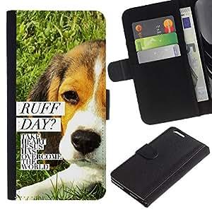 EJOY---La carpeta del tirón la caja de cuero de alta calidad de la PU Caso protector / Apple Iphone 6 PLUS 5.5 / --BIBLIA Ruff Dog Day Jesús
