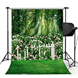 Kooer 5x7ft The Green Jungle Graden Wall Photography Backdrops Flowers White Fence Forest Photography Backgrounds Photo Studio Prop Baby Children Family Photoshoot Backdrop Customized Various Size