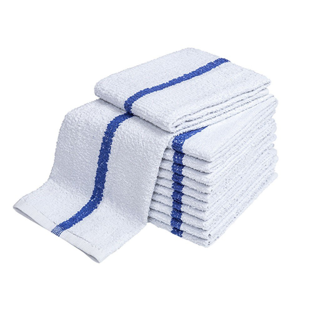 Atlas Blue Stripe Towels Kitchen Bar Mop Cleaning ECONOMY Towels, 48-Pack, 16x19'', White Cotton Kitchen Towels, Bulk Barmops, for Resaturant & General Cleaning, Shop Towels and Rags, Eco-Friendly