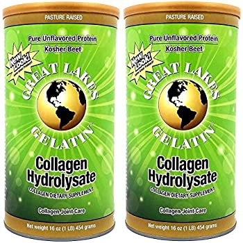 Great Lakes Gelatin, Pasture-Raised Grass-Fed, Collagen Hydrolysate, Collagen Peptides, Non GMO, 16 oz, 2-Pack