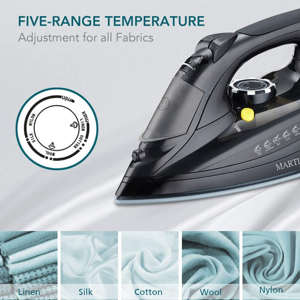 Retractable Cord Iron with Ceramic Soleplate MARTISAN Cordless Iron 1500W Steam Iron with Power Charging Dock Carry Lock for Easy Storage